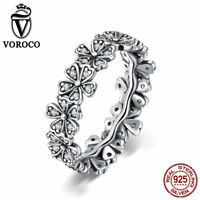 VOROCO 925 Sterling Silver Cluster Flower Band Rings With AAA CZ Thail Silver