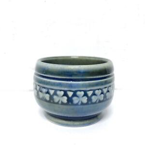 Wade Irish Porcelain Sugar Bowl Blue Green Shamrock Vintage Decor Pottery