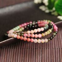 New 100% Natural Color Tourmaline Bracelet Women Fashion Circle Bead 52-56cmL