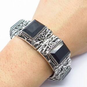 """Antique 925 Sterling Silver Black Onyx Gem Filigree Statement Link Bracelet 7"""""""
