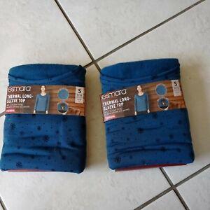 2 Esmara Thermal Long Sleeve Tops Blue/Aqua size Small 8/10
