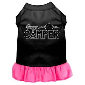 Happy Camper Screen Print Dog Dress Black with Bright Pink
