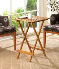 modern geometric BAMBOO wood folding side end tray TABLE portable outdoor patio