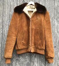 Vintage Mod Hipster Sherpa Lined Brown Suede Leather Bomber Jacket Mens Size 40