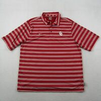 Nike Oklahoma Sooners Polo Shirt Adult XL Men Red White Striped Swoosh Team