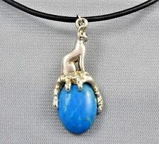 Egyptian Bast Bastet Cat Goddess on Turquoise Howlite Gemstone  Pendant 1-5/8""
