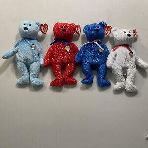 """Lot (4) Ty Beanie Baby 10 Year Anniversary Bears """"Decade"""" Red, Blue,Blue & Whit"""