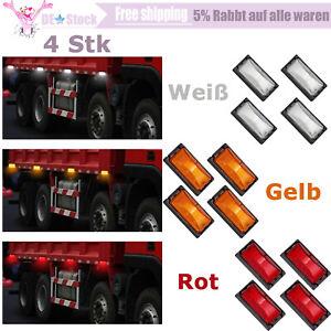 4x LED Begrenzungsleuchte Umrissleuchte Positionslicht Anhänger Weiß/Gelb/Rot E4