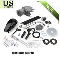 50cc 2 Stroke Cycle Motor Kit Motorized Bike Petrol Gas Bicycle Engine Silver