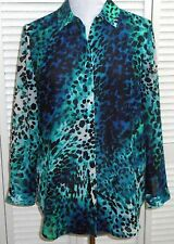 CHICO'S BLOUSE SHIRT TOP size 1/6/8 Blue Green Black White Long Sleeve Womens