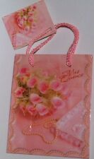 "Quinceanera Mini Gift Bag - 4 1/2"" X 5 1/2"" Pink, Girl Birthday Party, Cute!"