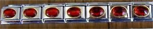 9mm Classic Size Italian Charm Large Oval Red Stone Fits Classic Size Bracelet