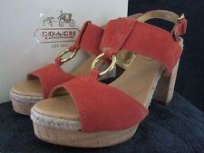COACH Womens A3951 Valeann Suede Tulip Heels Platform Sandals Shoes US 6.5 M NWB