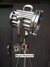 AUTHENTIC DESIGN CHROME FLOOR SPOTLIGHT WITH REVOLVING TRIPOD STEEL BIG LAMP