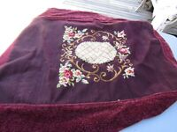 Vintage Piano/Bench Wine Colored Floral Finished Needlepoint Canvas w/Velvet