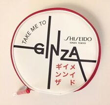 New Take Me To Ginza Tokyo Shiseido White & Red Leather Travel Case Make Up Bag