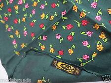 Viereck Tuch Seide CRGO Italy 52 x 52 grün Blumen pink rot wie NEU /Y19e