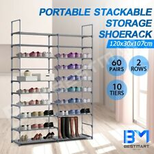 Portable Stackable Shoe Rack Cabinet 10 Tier 60 Pairs Storage Shelf Stand Metal