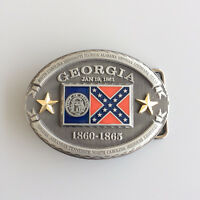 New Vintage Georgia Flag Oval Belt Buckle Gurtelschnalle Boucle de ceinture