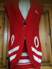 Superdry Chunky Red Sleeveless BASEBALL LEAGUE Long Cardigan Top Size Medium