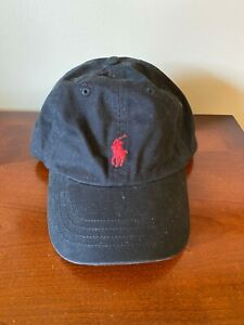 POLO Ralph LAUREN Red Pony Black Baseball Hat Cap Boys One Size 4-7 100% Cotton