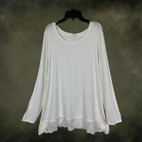 Plus Size Boho Hippie Laced Hem Top Tunic Shirt Long Sleeve Extender 1X 2X 3x