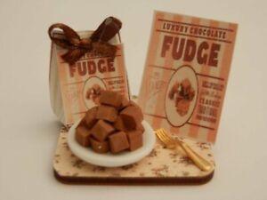 Dolls house food: Chocolate fudge cake display board -By Fran
