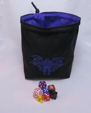 Purple Cthulhu Dice Bag - Square Base - Reversible Drawstring Tile Pouch RPG D&D