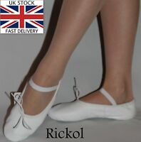 New White Leather Ballet Shoes Dance Slippers Gymnastic Adults Women Men Sizes