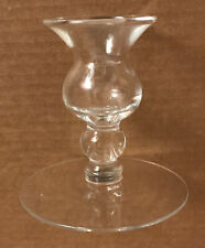 "VINTAGE Flat Footed Clear Glass Taper Candle Holder 3 5/8"" Tall"