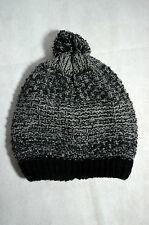 Herren Winter Strickmütze Mütze warm grau schwarz one size mit Bommel Neu!!!