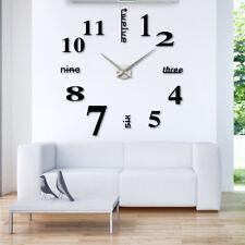 Wanduhr XL Deko Spiegel Edelstahl Uhr Wandtattoo Wand Uhr Gro�Ÿ XXL Clock schwarz