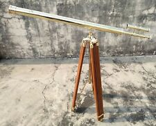"""39"""" Shinny Brass Double Barrel Telescope with Wooden Tripod Stand Nautical Decor"""