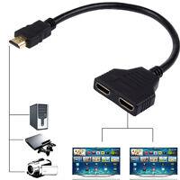 1080P HDMI Port Stecker Auf 2 Buchse Splitter Kabel Adapter Konverter