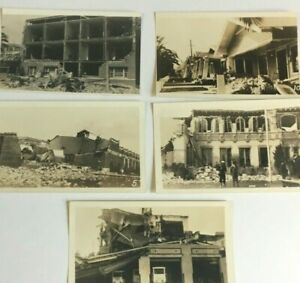 LOT of 5 vtg 1933 PHOTO Snapshots Compton California earthquake damage
