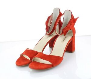 Q14  $320 Women's Sz 7 UK / 9 US Paul Green Carolina Suede Sandal - Red