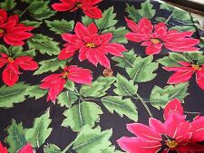 CHRISTMAS COTTON SEWING QUILTING CRAFTING FABRIC POINSETTAS 1 YRD X 44