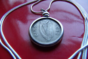 "1942 IRELAND Harp & Hare Coin Pendant on a 16"" 925 Silver Round Choker Chain"