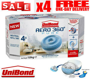 Unibond Aero 360° Pack of 4x 450G Tablets Moisture Absorber Neutral Refills Tabs