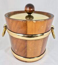 "Vintage Mid Century Kraftware Wood Ice Bucket w/ Lid 9"" Barware NYC 5th Ave USA"