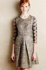 New Anthropologie San & Soni Gilt Jacquard Dress Size Large