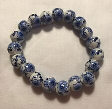 Blue And White Floral Chinoiserie Bead Bracelet NEW