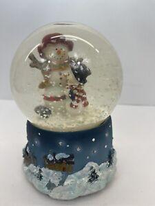 Musical Snowman Snow Globe White Christmas Winter Wonderland Frosty & Son
