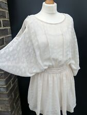 H&M CONSCIOUS Cream White Cold Shoulder Kimono Silky Chiffon floaty Party Dress
