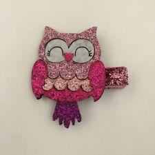 Glittery pink owl hair clip