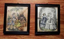 Pair of Vintage Framed ETCHINGS PRINTS Louis Berlier Heloise Leloir Black Frames