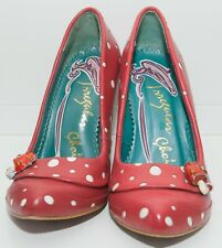 Irregular Choice Leather Polka Dot Shoes Heels Size 38 5 Red Mushroom