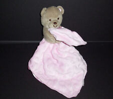 Carters Child Of Mine Pink Bear Baby Blanket Minky Dot Satin Back Lovey