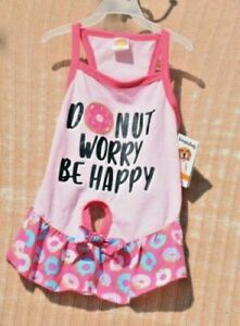 """SimplyDog - Pink """"Donut Worry Be Happy"""" Dress/Shirt (Pet, Dog)  Size Extra Small"""