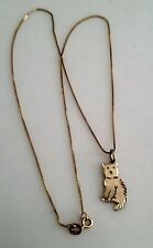 14k Yellow Gold Vintage Cat Shaped Charm Or Pendant & Necklace